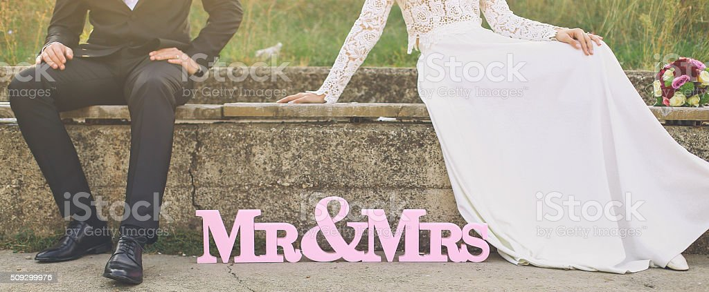 Mr & Mrs stock photo