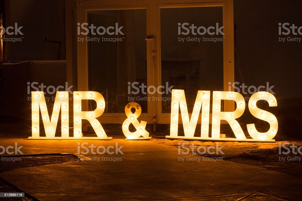 Mr & Mrs Sign in Mykonos, Greece stock photo