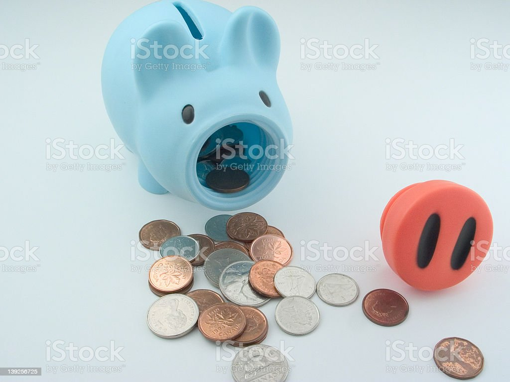 Mr. Piggy Bank Get's Raided (upright) stock photo