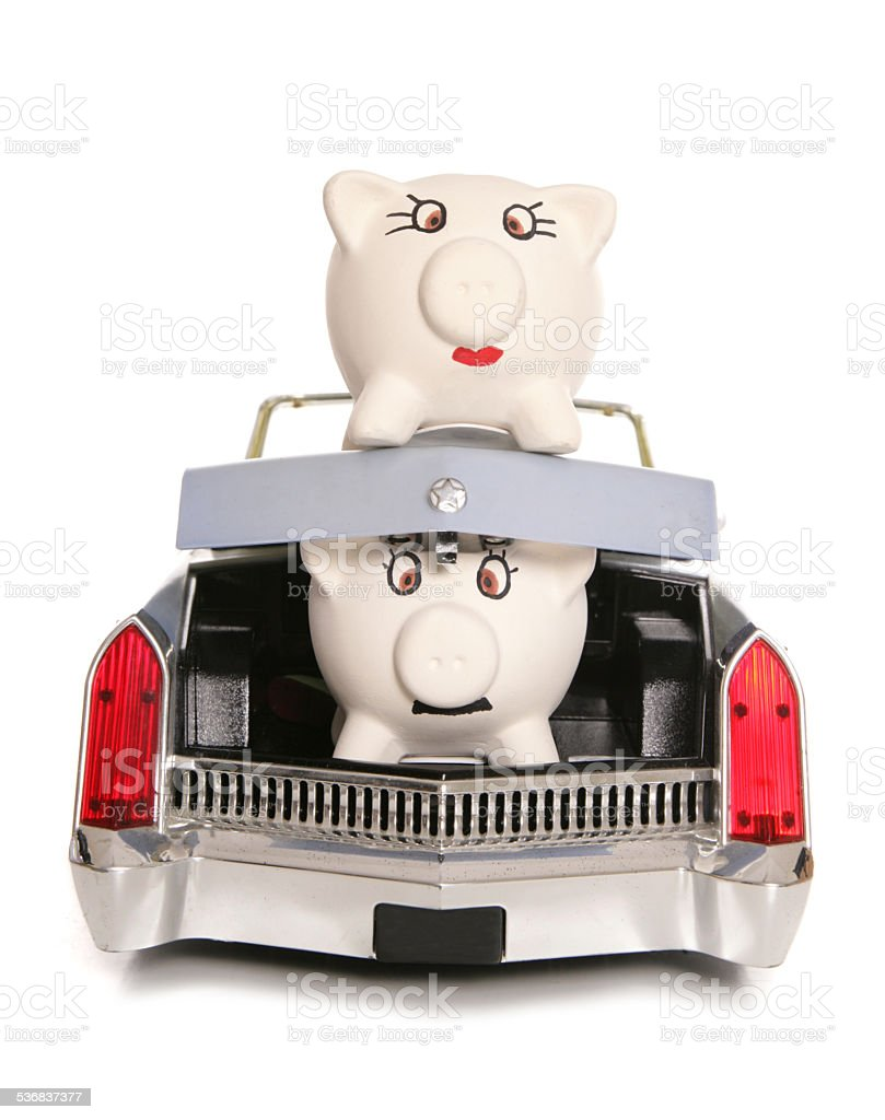 mr piggy bank in boot of car stock photo