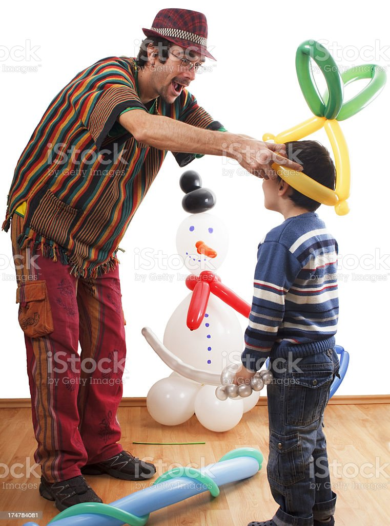 Mr Twister and little boy stock photo