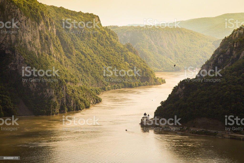 Mraconia monastery and Iron Gate gorge stock photo