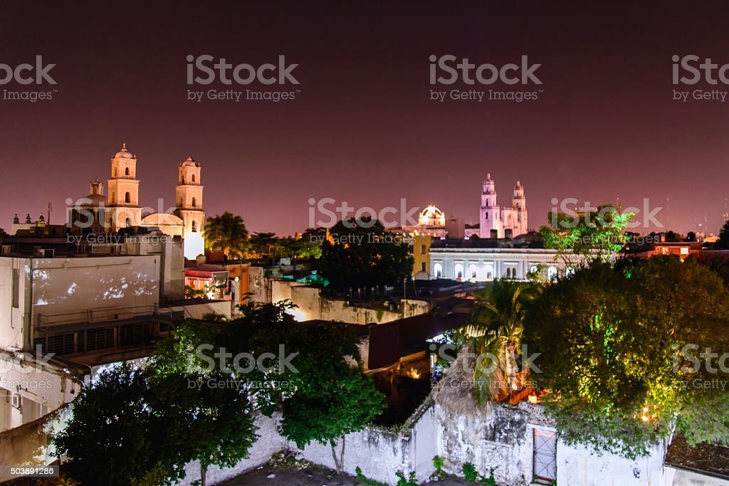 Mérida at night. stock photo