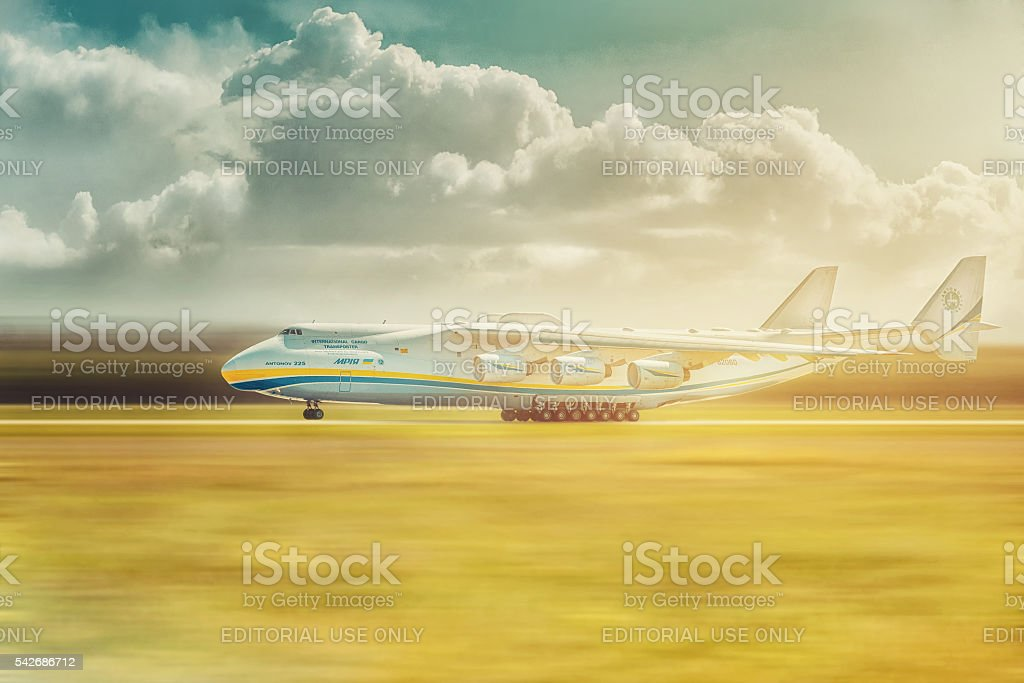Mriya, the largest aircraft ever built, departs from Hostomel Airport stock photo