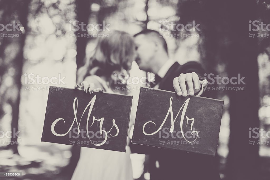 Mrs and Mr stock photo