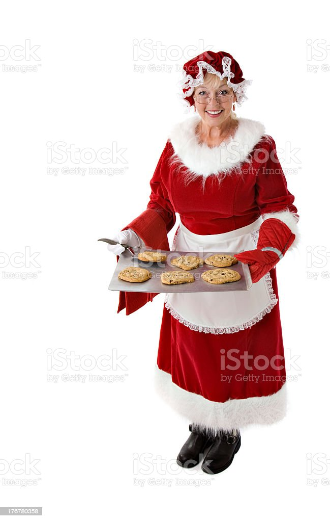 Mrs. Claus offers fresh baked cookies stock photo