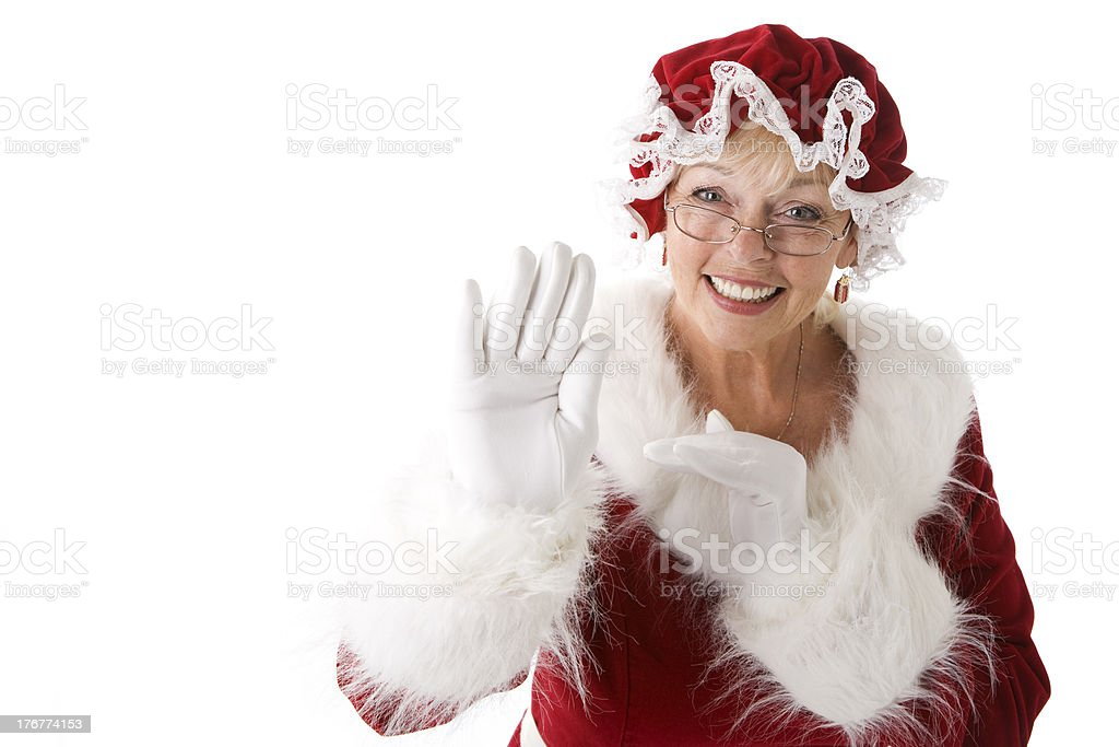 Mrs. Claus Waves royalty-free stock photo