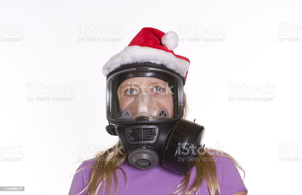 Mrs. Claus with Gas Mask royalty-free stock photo