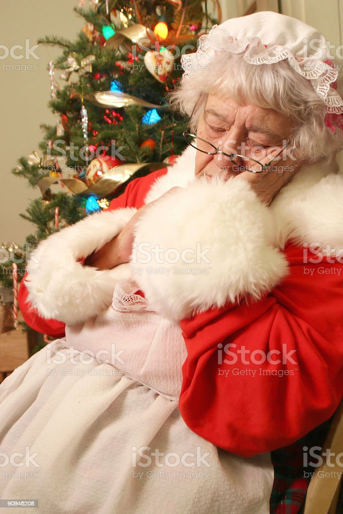 Mrs Clause Napping stock photo