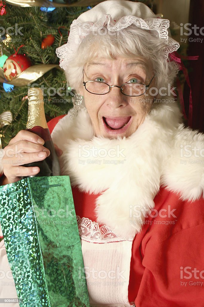 Mrs Clause's wine gift stock photo