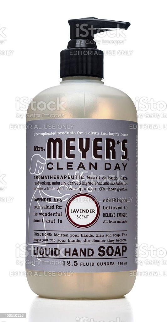 Mrs Meyer's clean day liquid hand soap bottle royalty-free stock photo