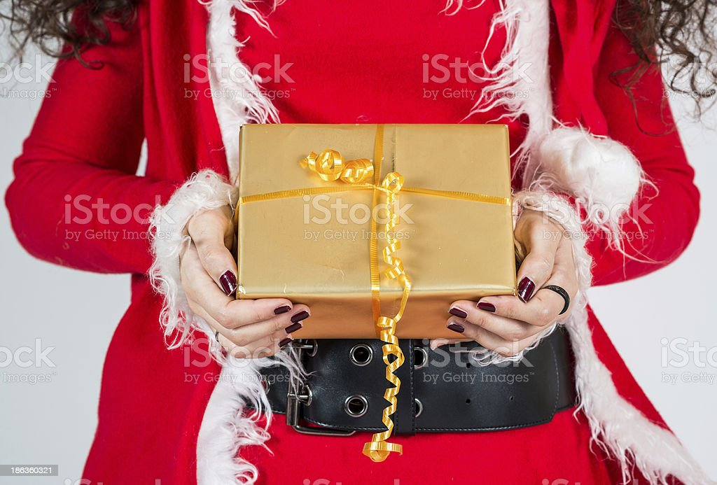 mrs santa claus with gifts stock photo