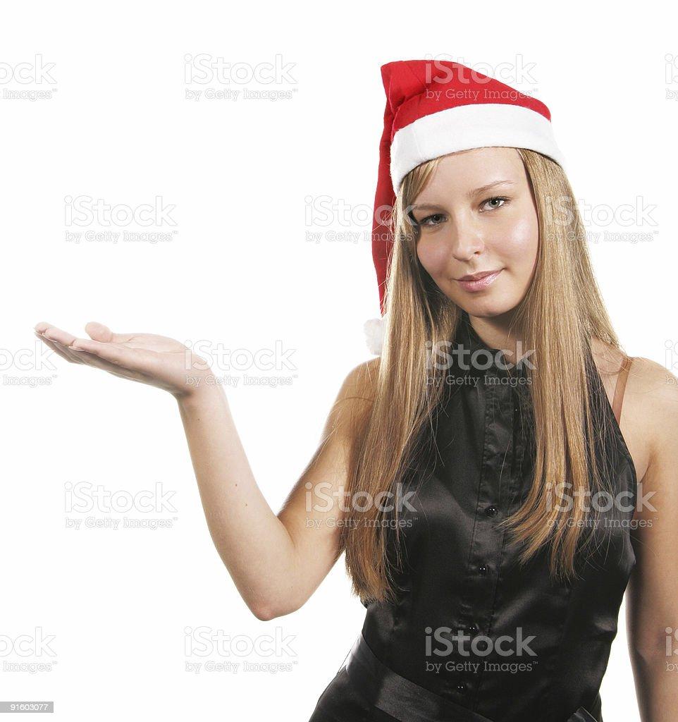 Mrs Santa holding something royalty-free stock photo