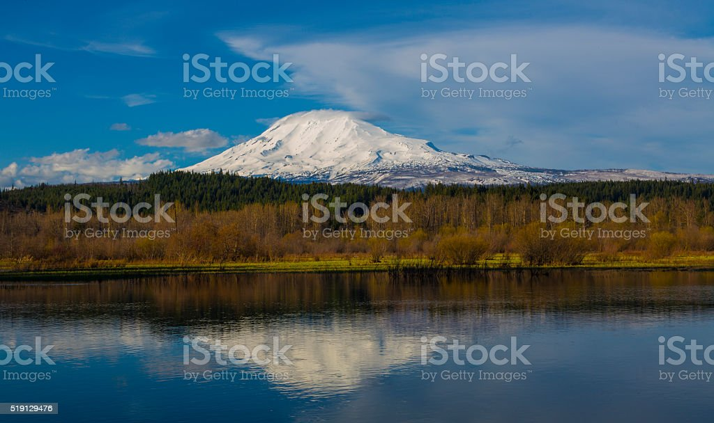 Mt Adams as Seen from Trout Lake stock photo