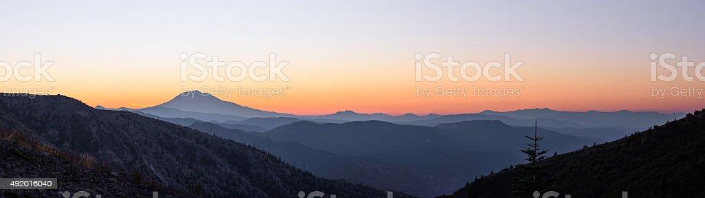 Mt Adams at dawn panorama stock photo