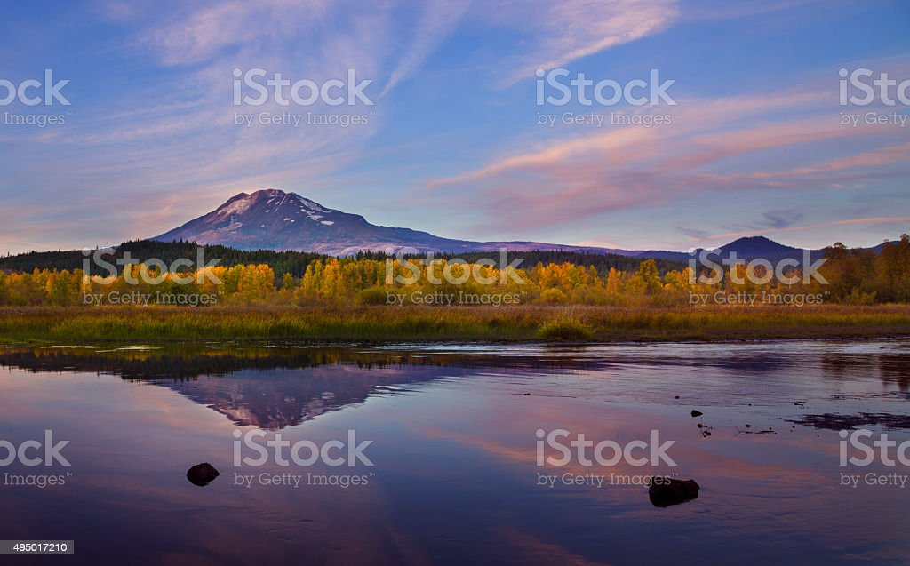 Mt Adams at Dusk stock photo