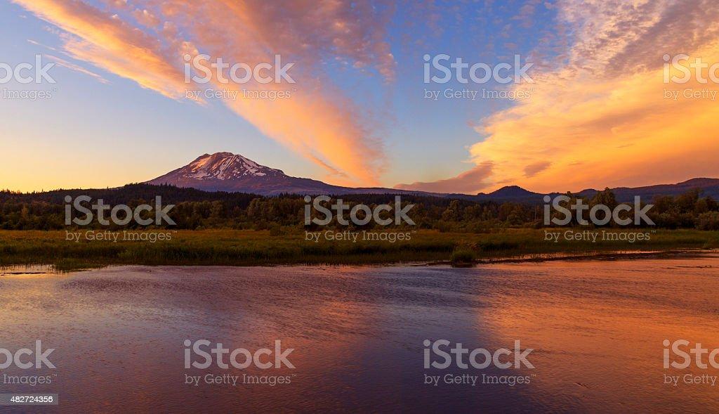 Mt Adams at Trout Lake stock photo