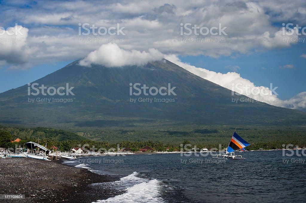 Mt. Agung, Amed, Bali. stock photo