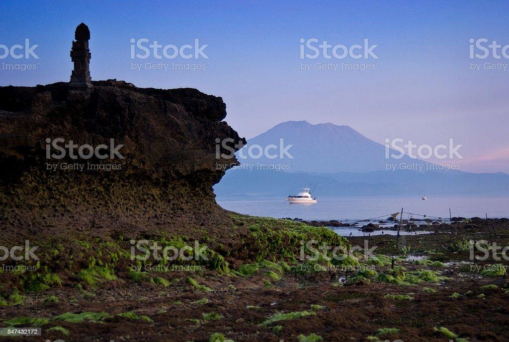 Mt. Agung from Nusa Lembongan stock photo