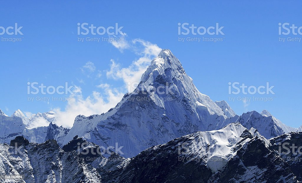 Mt. Ama Dablam in the Himalayas stock photo