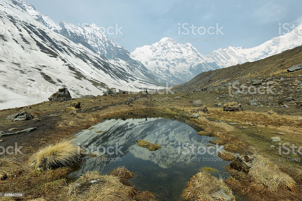 Mt Annapurna South in Nepal stock photo