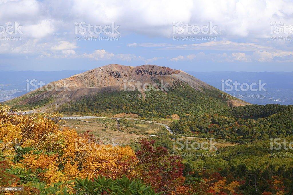 Mt. Azumakofuji of tinted autumn royalty-free stock photo
