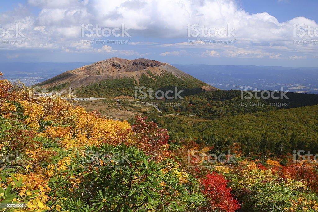 Mt. Azumakofuji of tinted autumn stock photo