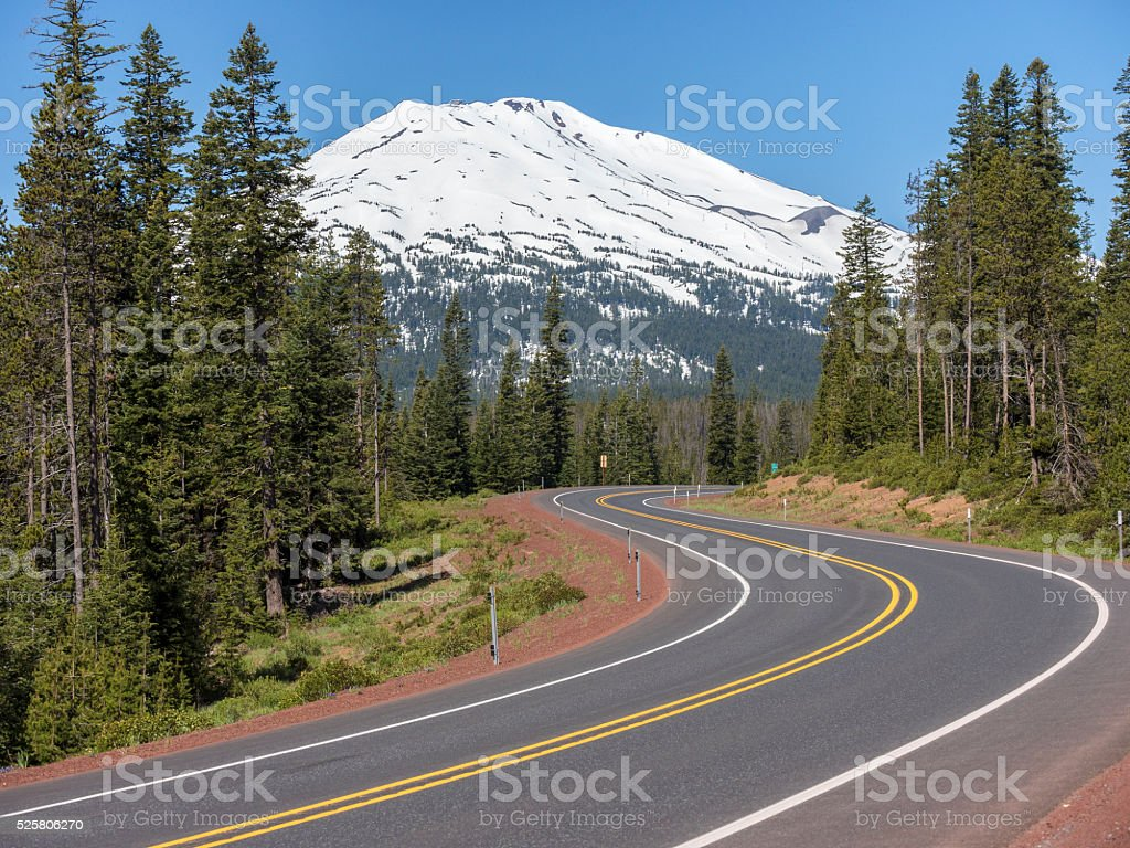Mt Bachelor and road, near Bend, Oregon stock photo