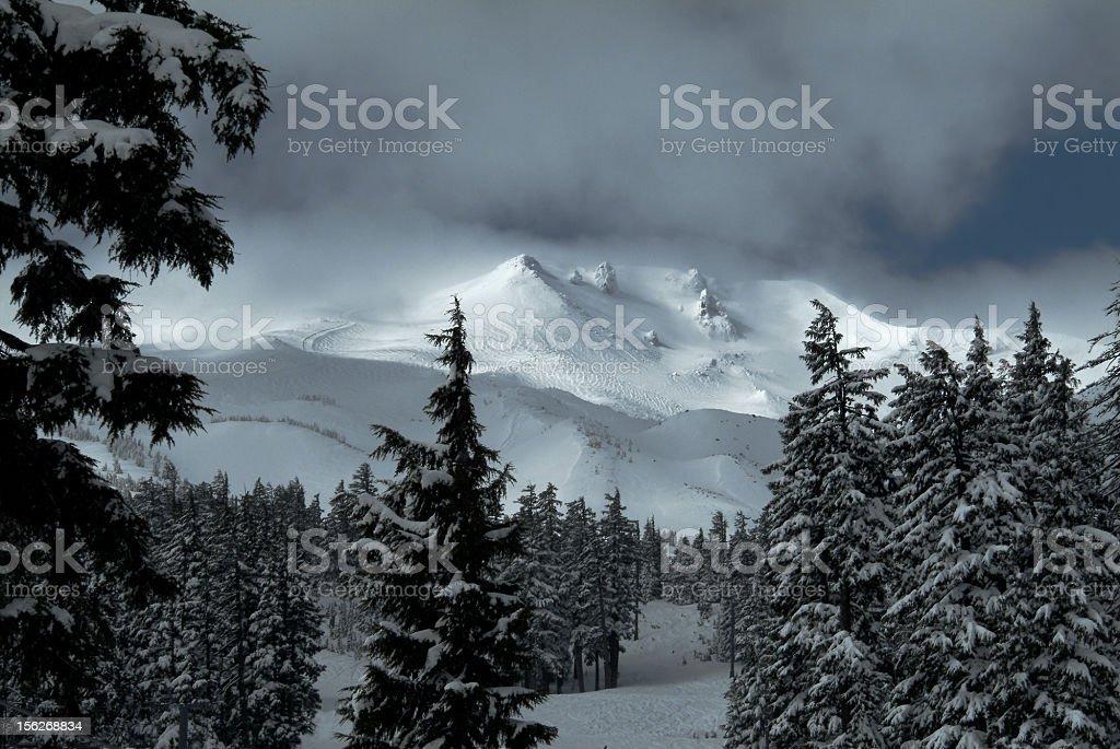 Mt Bachelor winter strom stock photo