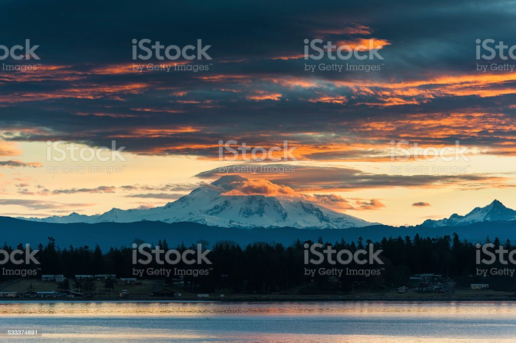 Mt. Baker Sunrise stock photo