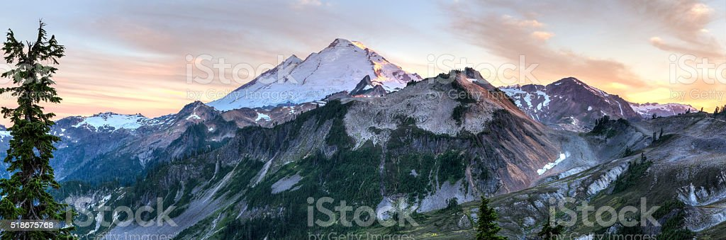 Mt. Baker Sunset Panorama stock photo