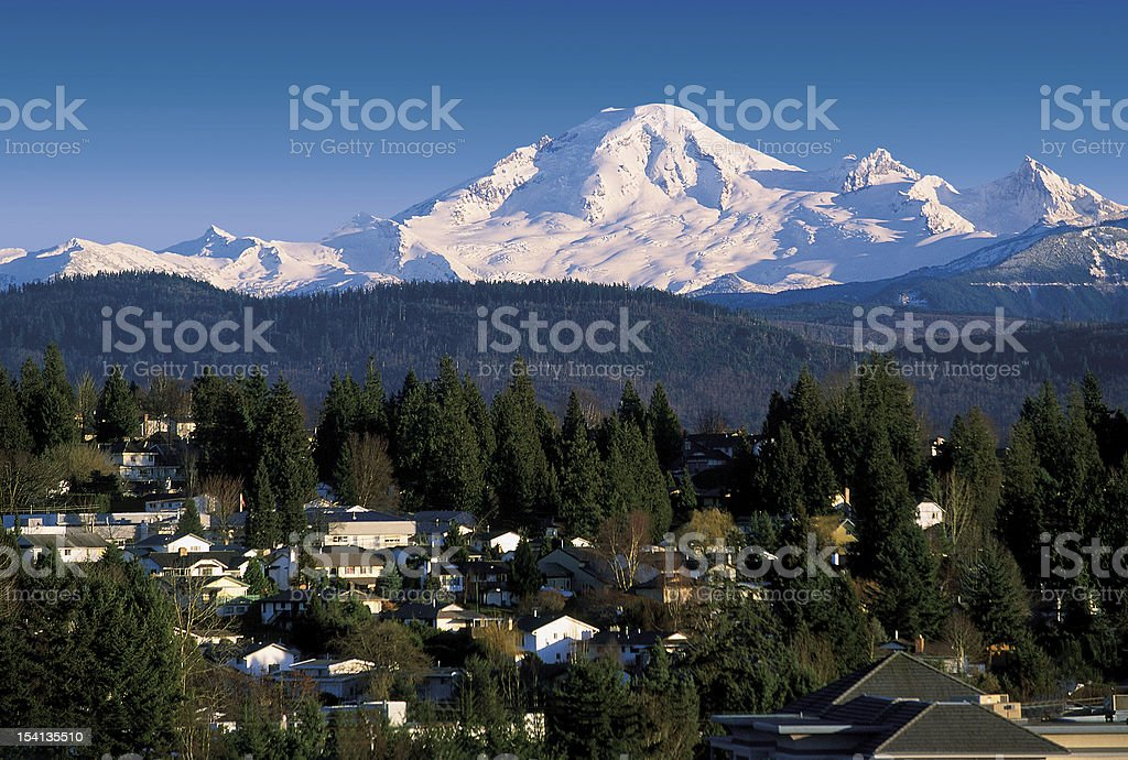 Mt. Baker with Abbottsford houses stock photo