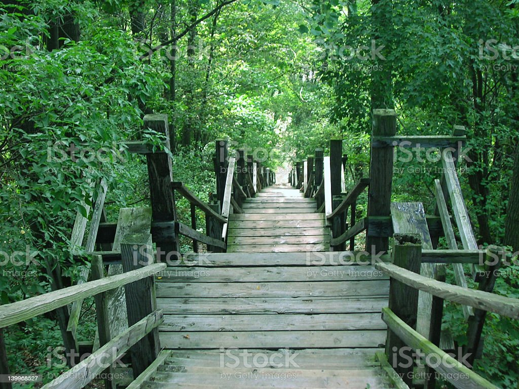 Mt Baldhead Stairs in Saugetuck, Michigan stock photo