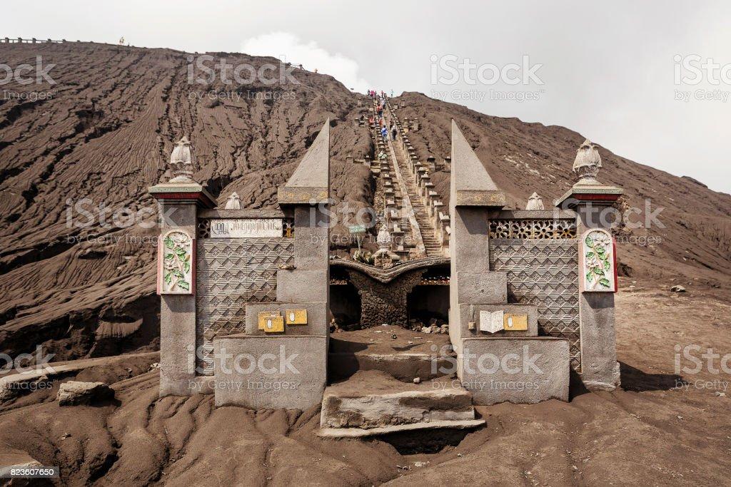 Mt. Bromo volcano, Sacrificial site at the entrance to climb a volcano mt. Bromo. Bromo Tengger Semeru National Park, East Java, Indonesia. stock photo