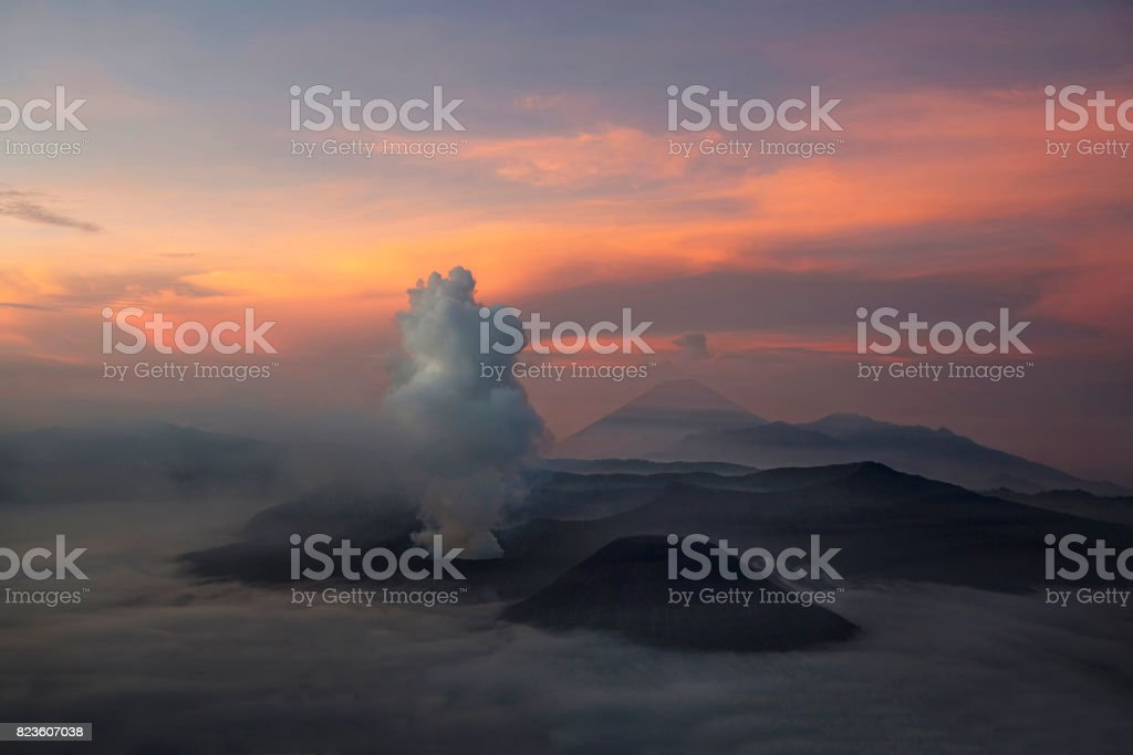 Mt. Bromo volcano. The magnificent view to crater Mt. Bromo, located in Bromo Tengger Semeru National Park, East Java, Indonesia. stock photo