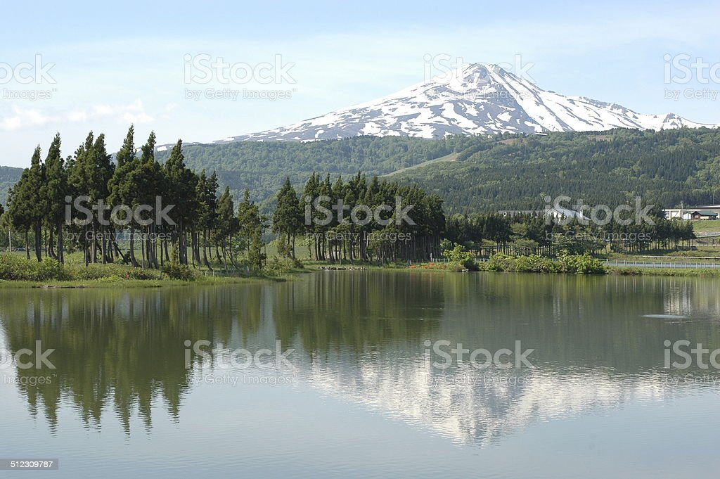 Mt Chokai and its Reflection on Pond stock photo