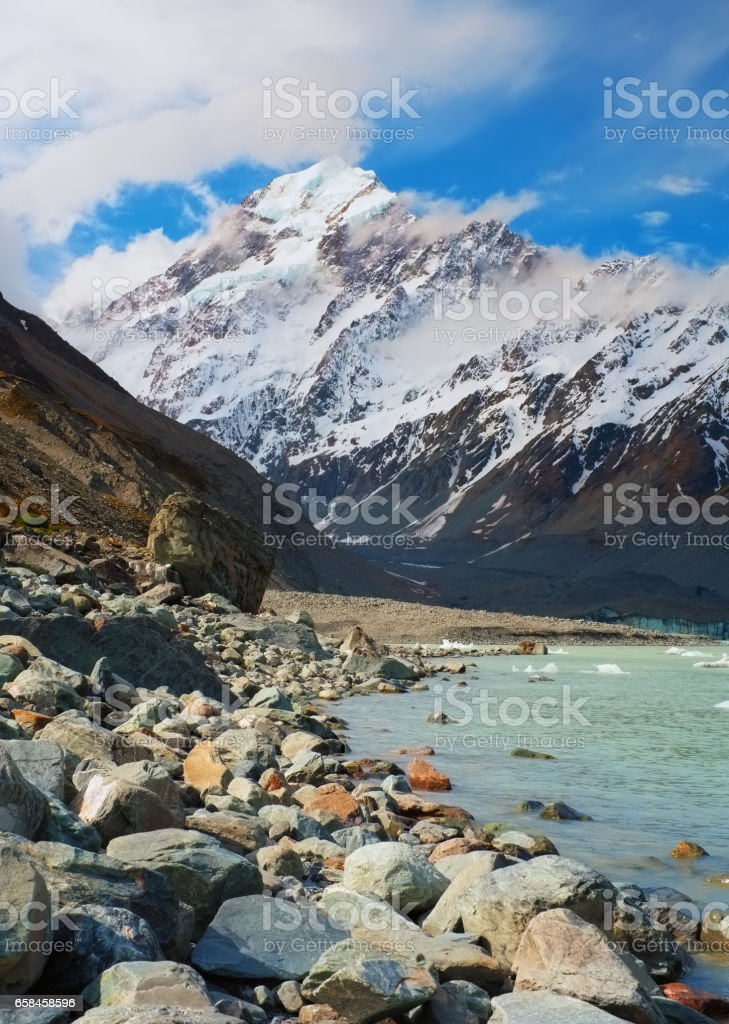 Mt Cook And Hooker Lake stock photo