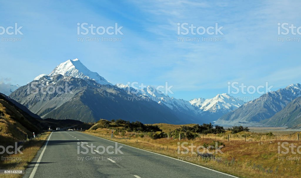 Mt Cook and The Minarets stock photo