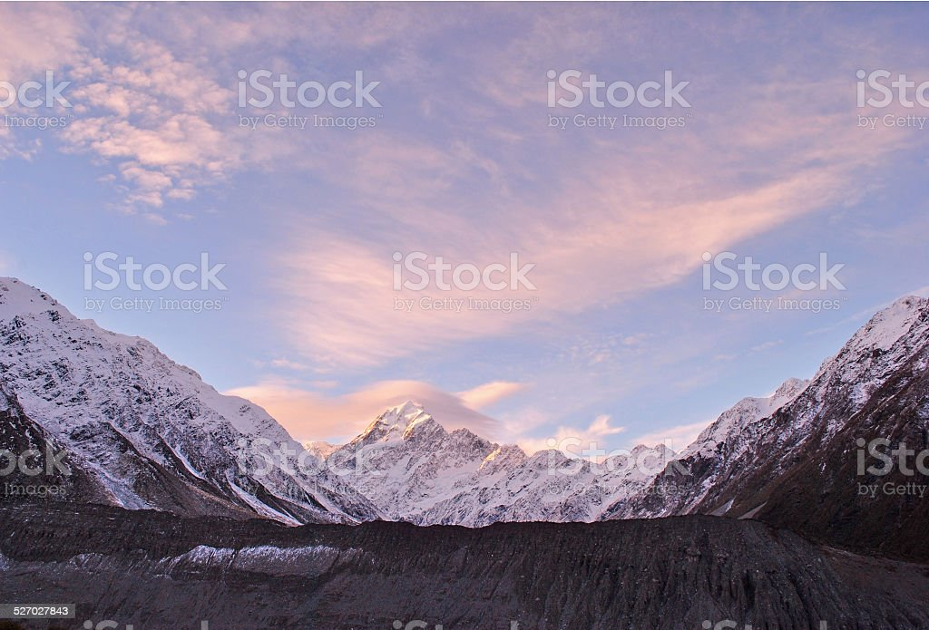 Mt Cook / Aoraki Sunset Panorama stock photo