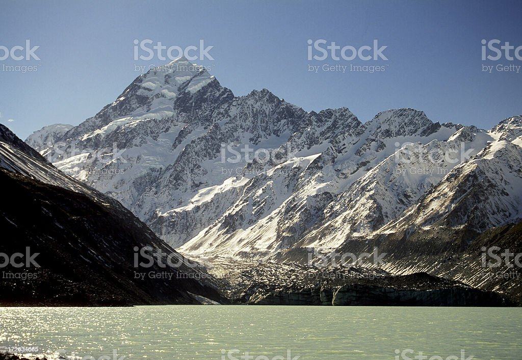 Mt Cook from hooker lake stock photo