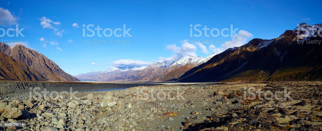 Mt Cook National Park Panorama stock photo