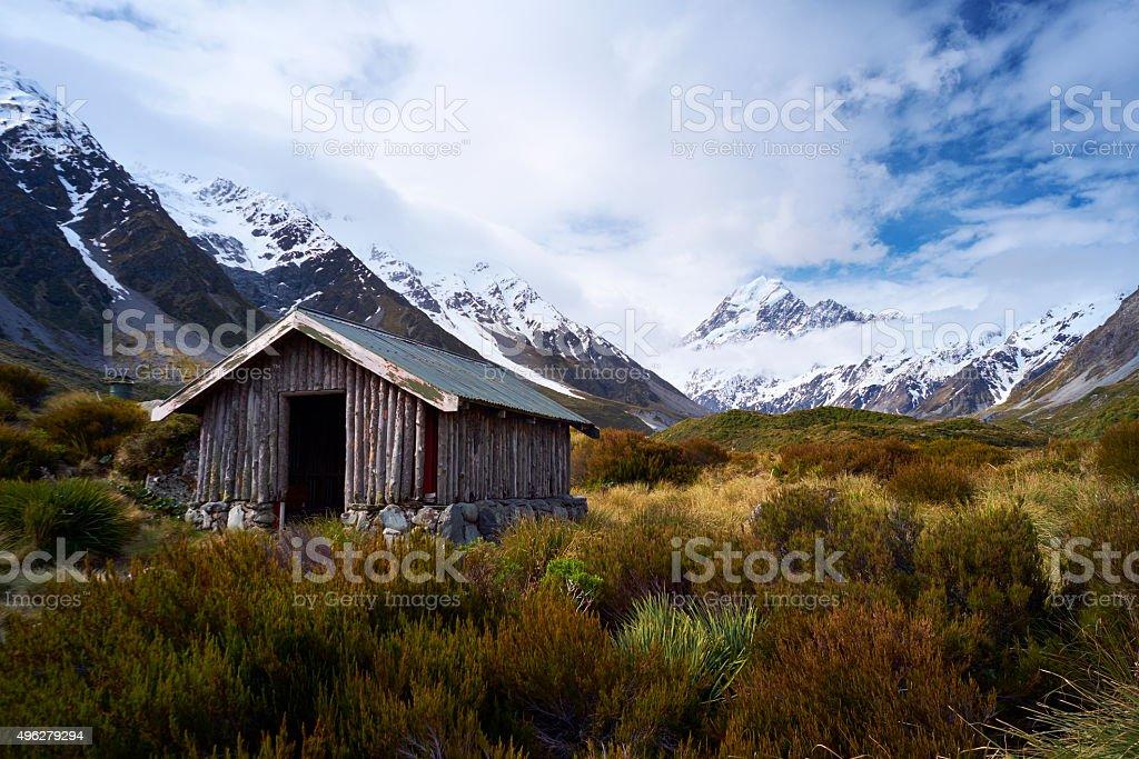Mt Cook National Park Walker's Hut stock photo