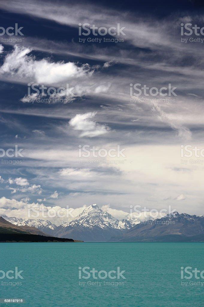 Mt Cook over Lake Pukeki stock photo