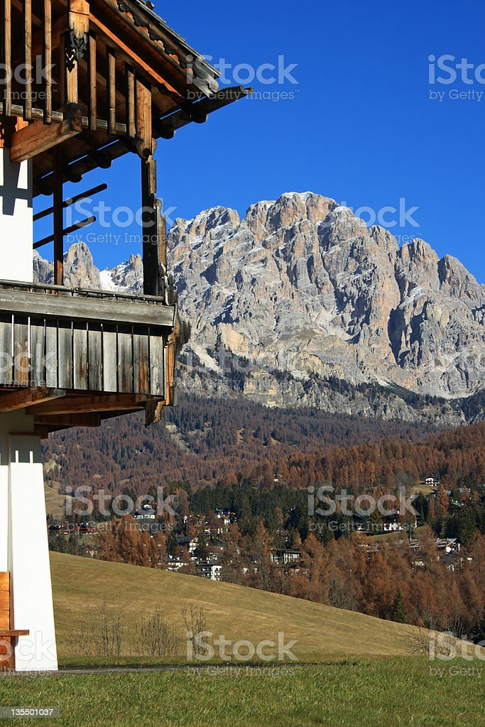 Mt Cristallo over the famous village of Cortina in Dolomites stock photo