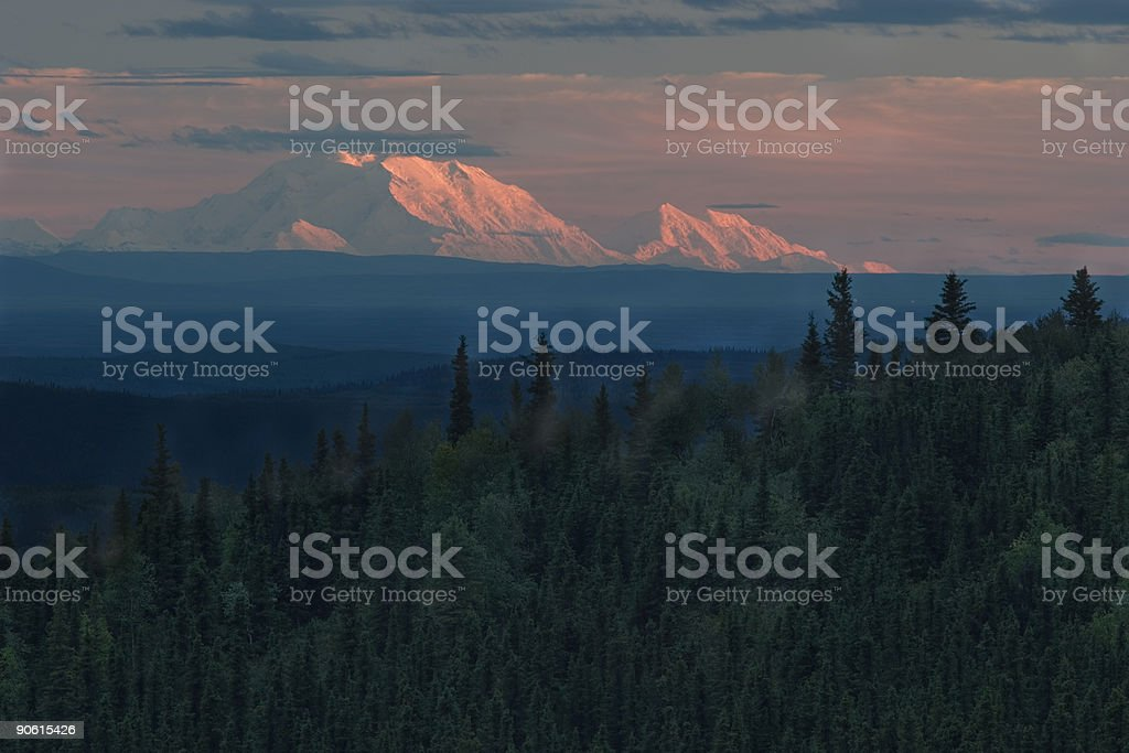 Mt. Denali at sunset -2 (more light) royalty-free stock photo