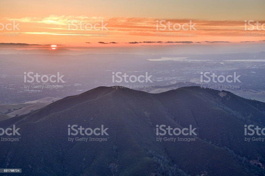 Mt. Diablo State Park Sunset, Eagle Peak. stock photo