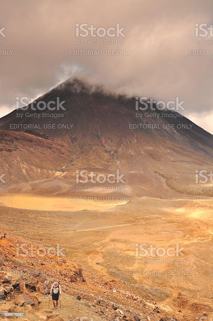 Mt doom hiker stock photo