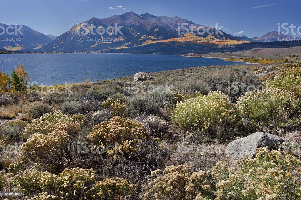 Mt. Elbert & Twin Lakes, Colorado in Autumn stock photo