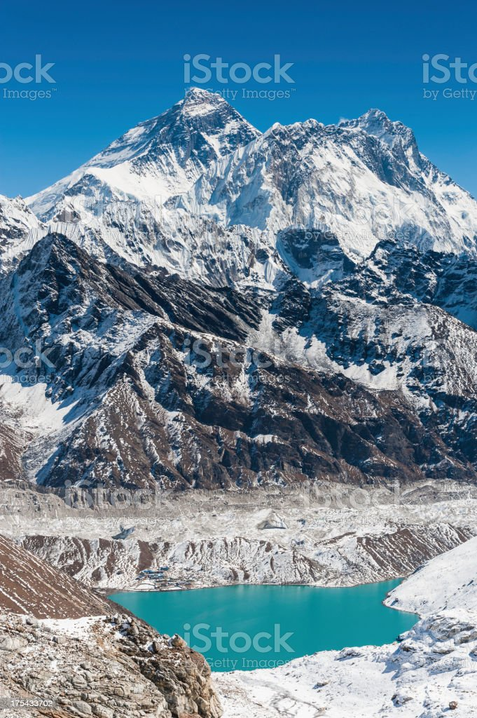 Mt Everest above Gokyo Lake Himalayas Nepal royalty-free stock photo