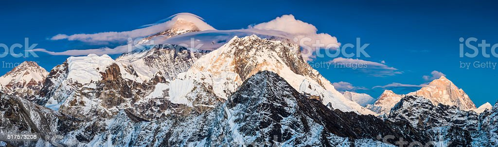 Mt Everest alpenglow illuminating roof of the world Himalayas Nepal stock photo